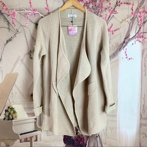 Chicwish Lapel Open Front Camel Cardigan